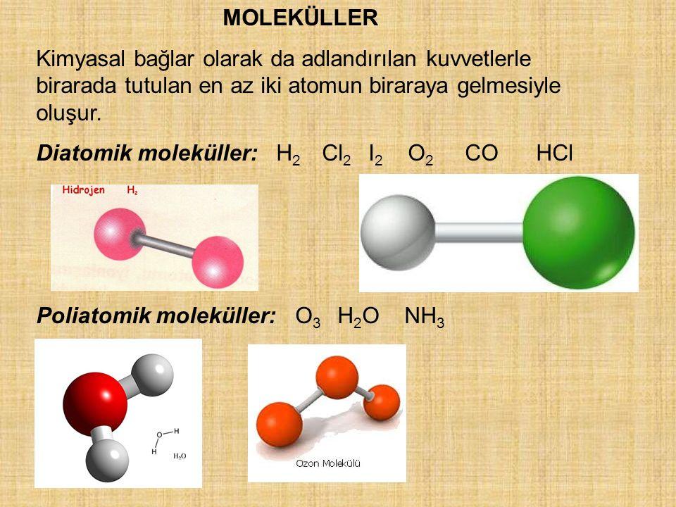 İYONLAR: Anyon, katyon Kimyasal değişim sonucu elektron kazanan veya kaybeden nötr bir atom yada molekülden oluşan yüklü türlere iyon denir.