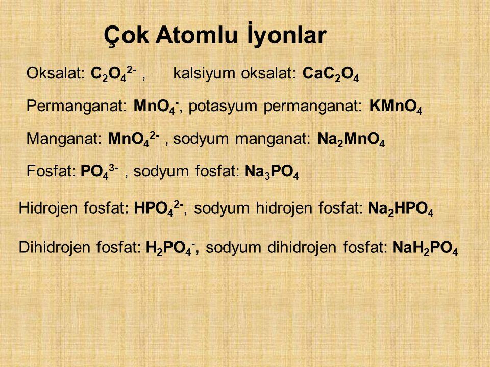 Oksalat: C 2 O 4 2-, kalsiyum oksalat: CaC 2 O 4 Permanganat: MnO 4 -, potasyum permanganat: KMnO 4 Manganat: MnO 4 2-, sodyum manganat: Na 2 MnO 4 Fosfat: PO 4 3-, sodyum fosfat: Na 3 PO 4 Çok Atomlu İyonlar Hidrojen fosfat: HPO 4 2-, sodyum hidrojen fosfat: Na 2 HPO 4 Dihidrojen fosfat: H 2 PO 4 -, sodyum dihidrojen fosfat: NaH 2 PO 4