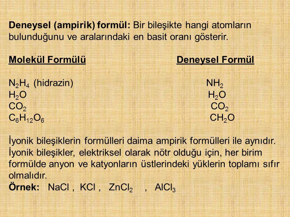 Deneysel (ampirik) formül: Bir bileşikte hangi atomların bulunduğunu ve aralarındaki en basit oranı gösterir. Molekül Formülü Deneysel Formül N 2 H 4