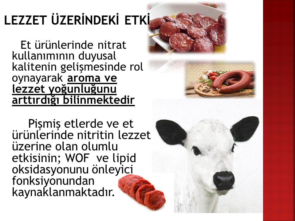 LEZZET ÜZERİNDEKİ ETKİ Et ürünlerinde nitrat kullanımının duyusal kalitenin gelişmesinde rol oynayarak aroma ve lezzet yoğunluğunu arttırdığı bilinmek