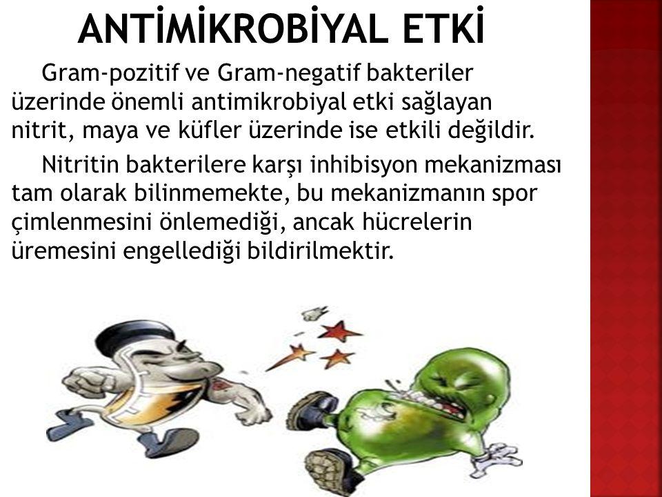 ANTİMİKROBİYAL ETKİ Gram-pozitif ve Gram-negatif bakteriler üzerinde önemli antimikrobiyal etki sağlayan nitrit, maya ve küfler üzerinde ise etkili de