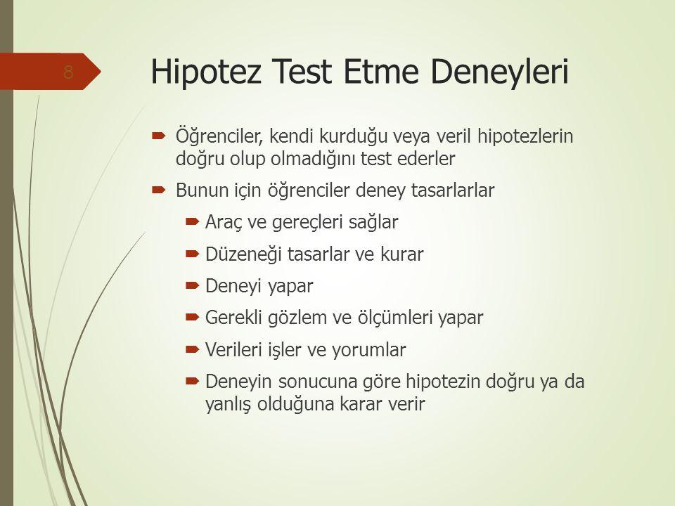 Hipotez Test Etme Deneyleri  Öğrenciler, kendi kurduğu veya veril hipotezlerin doğru olup olmadığını test ederler  Bunun için öğrenciler deney tasarlarlar  Araç ve gereçleri sağlar  Düzeneği tasarlar ve kurar  Deneyi yapar  Gerekli gözlem ve ölçümleri yapar  Verileri işler ve yorumlar  Deneyin sonucuna göre hipotezin doğru ya da yanlış olduğuna karar verir 8