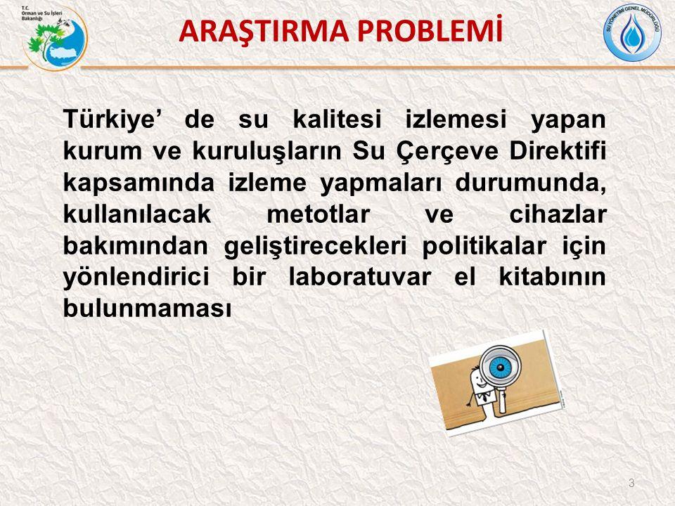 ARAŞTIRMA PROBLEMİ 3 Türkiye' de su kalitesi izlemesi yapan kurum ve kuruluşların Su Çerçeve Direktifi kapsamında izleme yapmaları durumunda, kullanılacak metotlar ve cihazlar bakımından geliştirecekleri politikalar için yönlendirici bir laboratuvar el kitabının bulunmaması