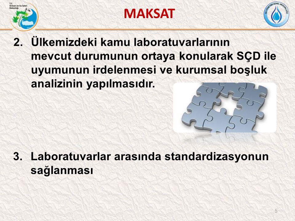MAKSAT 5 2.Ülkemizdeki kamu laboratuvarlarının mevcut durumunun ortaya konularak SÇD ile uyumunun irdelenmesi ve kurumsal boşluk analizinin yapılmasıdır.