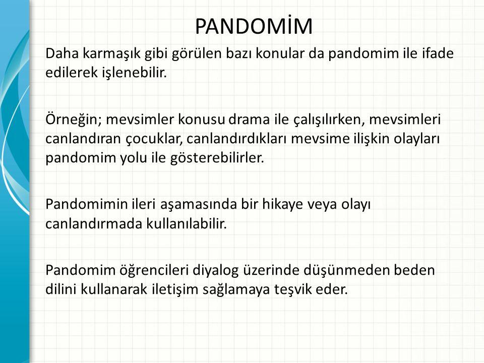 PANDOMİM Daha karmaşık gibi görülen bazı konular da pandomim ile ifade edilerek işlenebilir. Örneğin; mevsimler konusu drama ile çalışılırken, mevsiml