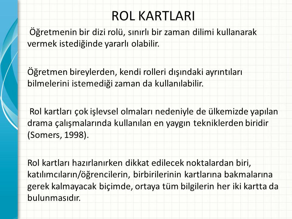 ROL KARTLARI Öğretmenin bir dizi rolü, sınırlı bir zaman dilimi kullanarak vermek istediğinde yararlı olabilir. Öğretmen bireylerden, kendi rolleri dı