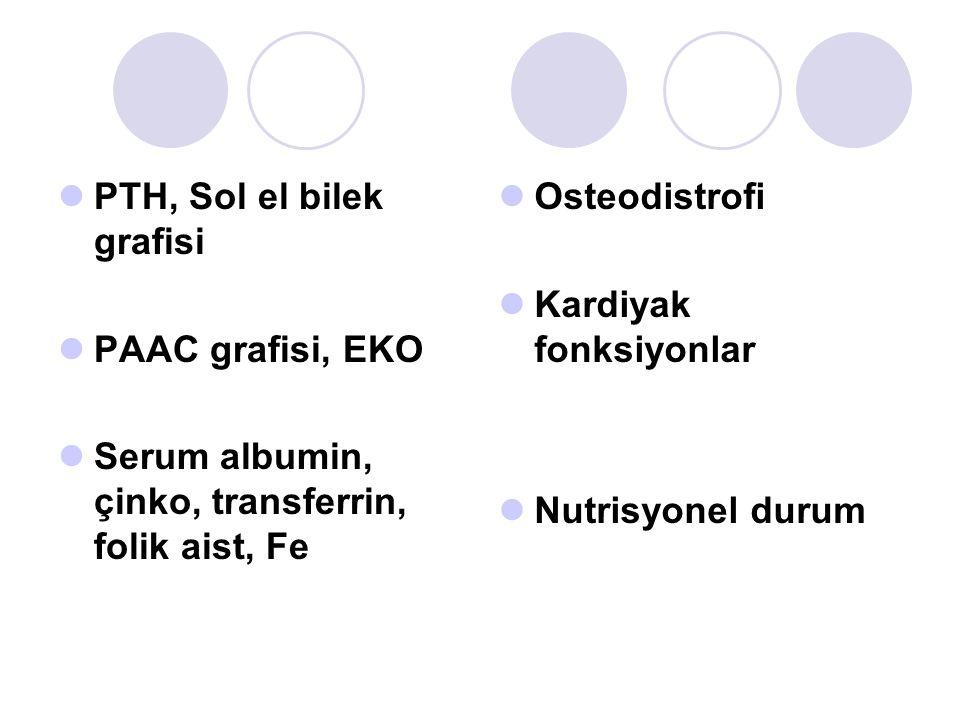 PTH, Sol el bilek grafisi PAAC grafisi, EKO Serum albumin, çinko, transferrin, folik aist, Fe Osteodistrofi Kardiyak fonksiyonlar Nutrisyonel durum
