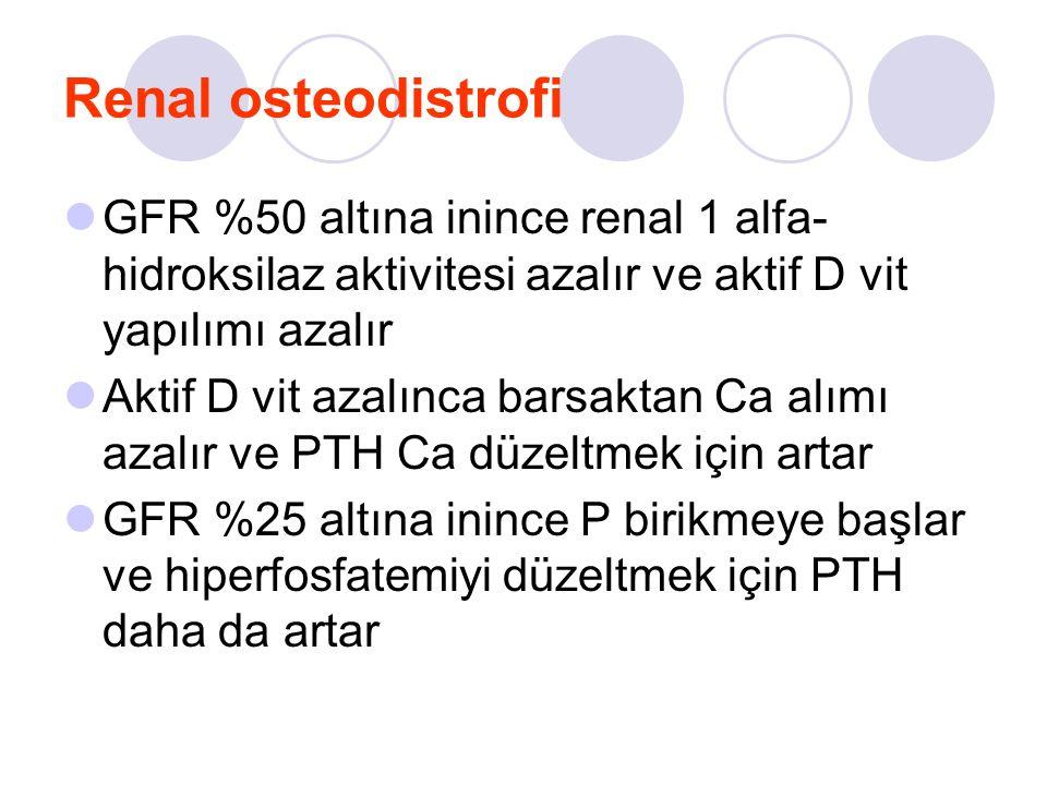Renal osteodistrofi GFR %50 altına inince renal 1 alfa- hidroksilaz aktivitesi azalır ve aktif D vit yapılımı azalır Aktif D vit azalınca barsaktan Ca alımı azalır ve PTH Ca düzeltmek için artar GFR %25 altına inince P birikmeye başlar ve hiperfosfatemiyi düzeltmek için PTH daha da artar