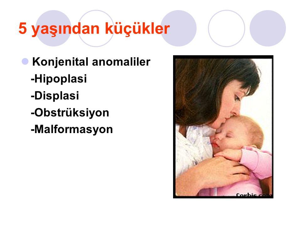 5 yaşından büyük Glomerul hastalıklar -Glomerulonefrit -HÜS Heriditer hastalıklar -Alport sendromu -Kistik hastalıklar