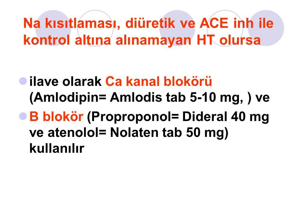 Na kısıtlaması, diüretik ve ACE inh ile kontrol altına alınamayan HT olursa ilave olarak Ca kanal blokörü (Amlodipin= Amlodis tab 5-10 mg, ) ve B blokör (Proproponol= Dideral 40 mg ve atenolol= Nolaten tab 50 mg) kullanılır