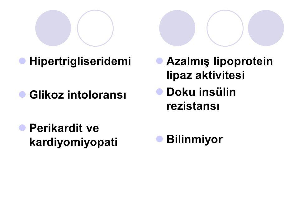 Hipertrigliseridemi Glikoz intoloransı Perikardit ve kardiyomiyopati Azalmış lipoprotein lipaz aktivitesi Doku insülin rezistansı Bilinmiyor