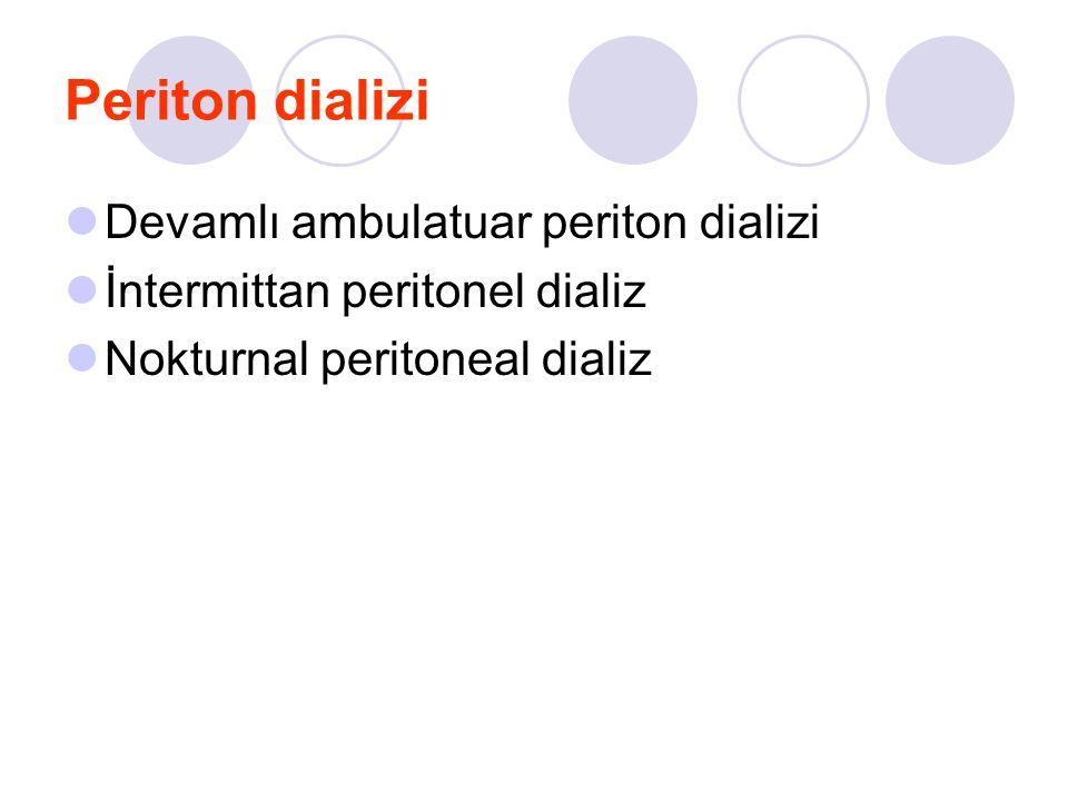 Periton dializi Devamlı ambulatuar periton dializi İntermittan peritonel dializ Nokturnal peritoneal dializ