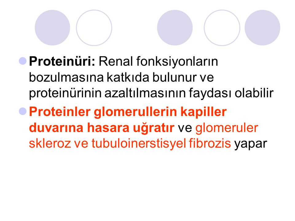 Proteinüri: Renal fonksiyonların bozulmasına katkıda bulunur ve proteinürinin azaltılmasının faydası olabilir Proteinler glomerullerin kapiller duvarına hasara uğratır ve glomeruler skleroz ve tubuloinerstisyel fibrozis yapar