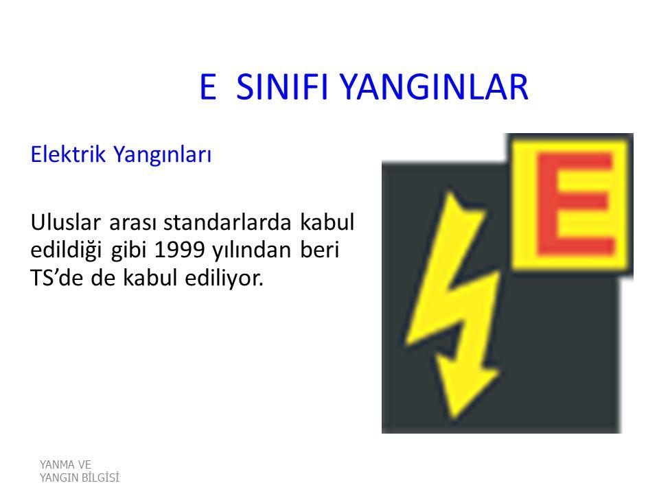 E SINIFI YANGINLAR Elektrik Yangınları Uluslar arası standarlarda kabul edildiği gibi 1999 yılından beri TS'de de kabul ediliyor. YANMA VE YANGIN BİLG