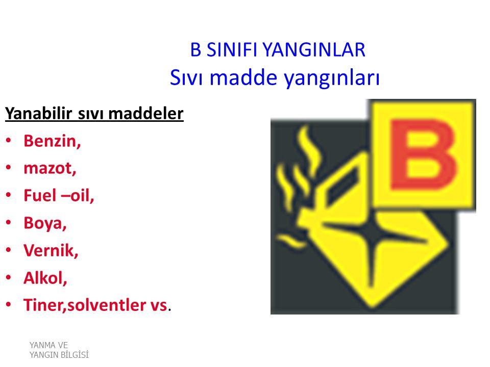 B SINIFI YANGINLAR Sıvı madde yangınları Yanabilir sıvı maddeler Benzin, mazot, Fuel –oil, Boya, Vernik, Alkol, Tiner,solventler vs. YANMA VE YANGIN B