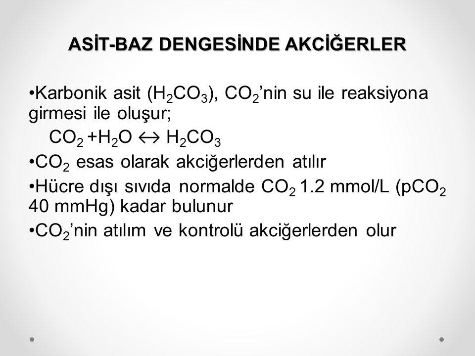 ASİT-BAZ DENGESİNDE AKCİĞERLER Karbonik asit (H 2 CO 3 ), CO 2 'nin su ile reaksiyona girmesi ile oluşur; CO 2 +H 2 O ↔ H 2 CO 3 CO 2 esas olarak akci