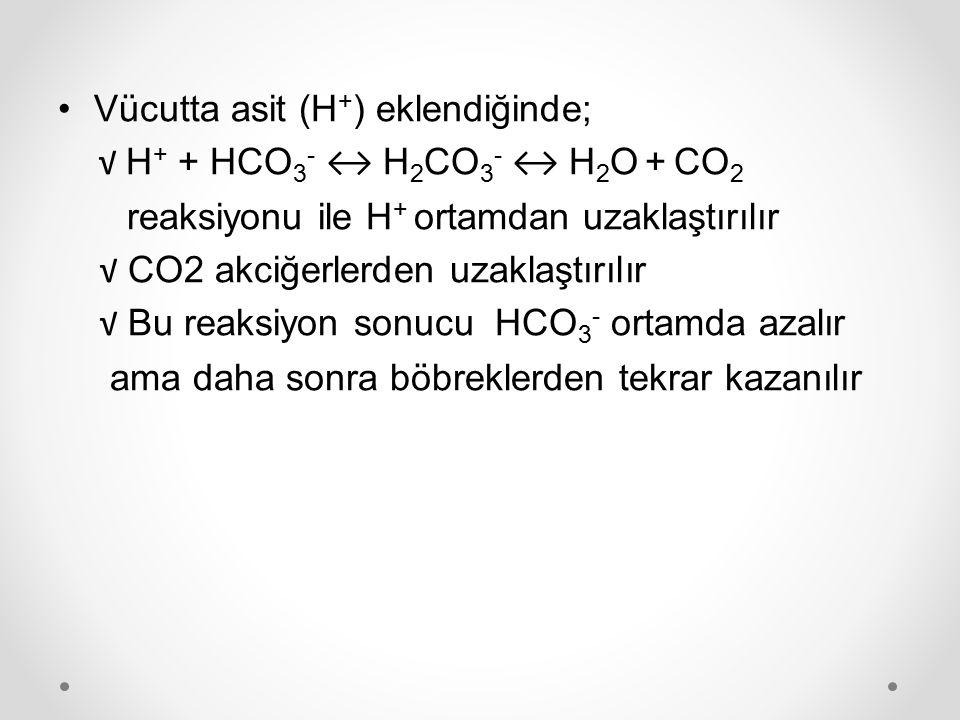 Vücutta asit (H + ) eklendiğinde; √ H + + HCO 3 - ↔ H 2 CO 3 - ↔ H 2 O + CO 2 reaksiyonu ile H + ortamdan uzaklaştırılır √ CO2 akciğerlerden uzaklaştı