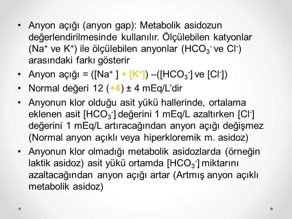 Anyon açığı (anyon gap): Metabolik asidozun değerlendirilmesinde kullanılır. Ölçülebilen katyonlar (Na + ve K + ) ile ölçülebilen anyonlar (HCO 3 - ve