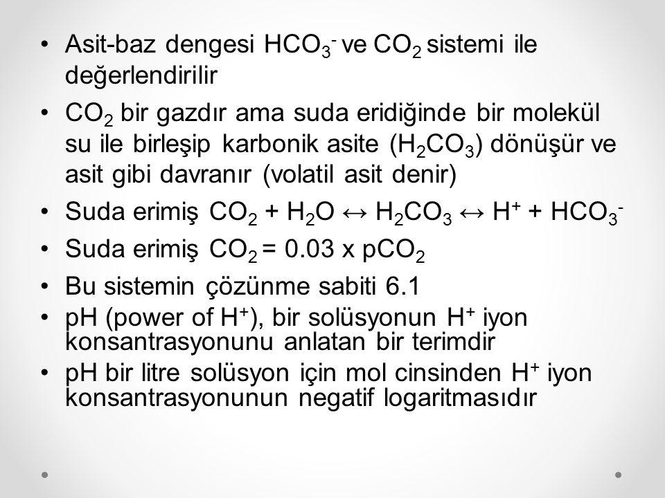 Henderson-Hasselbach eşitliği pH = 6.1 + log ([HCO 3 - ]/[0.03 x pCO 2 ]) pH'yı belirleyen HCO 3 - /pCO 2 oranıdır Asit-baz dengesinin bozukluklarında pH'yı sabit tutmak için bu iki molekül aynı yönde hareket etmek durumundadır HCO 3 - azalırsa (artarsa) pCO 2 'de azalmak (artmak) zorundadır pCO 2 azalırsa (artarsa) HCO 3 - 'de azalmak (artmak) zorundadır