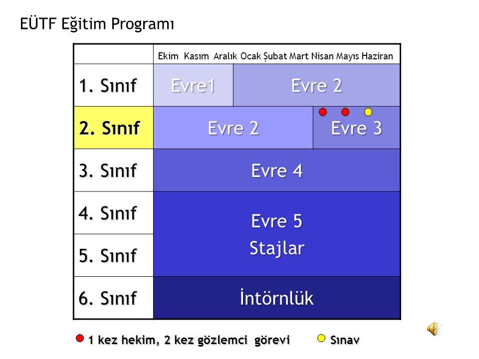 Ekim Kasım Aralık Ocak Şubat Mart Nisan Mayıs Haziran 1. Sınıf Evre1 Evre 2 2. Sınıf Evre 2 Evre 3 3. Sınıf Evre 4 4. Sınıf Evre 5 Stajlar 5. Sınıf 6.
