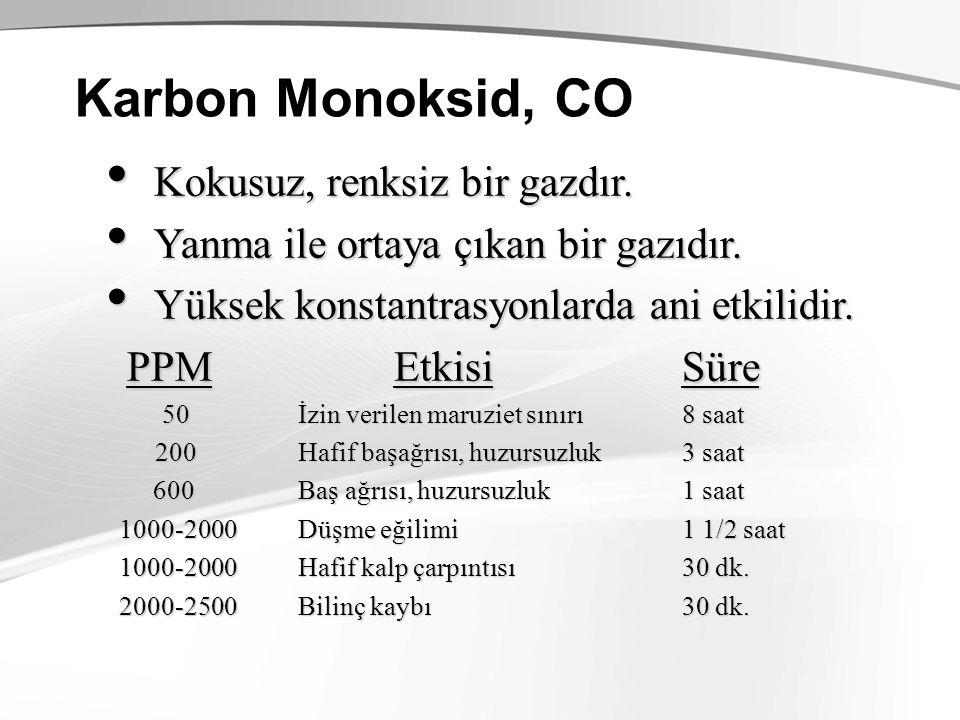 Karbon Monoksid, CO Kokusuz, renksiz bir gazdır. Kokusuz, renksiz bir gazdır. Yanma ile ortaya çıkan bir gazıdır. Yanma ile ortaya çıkan bir gazıdır.