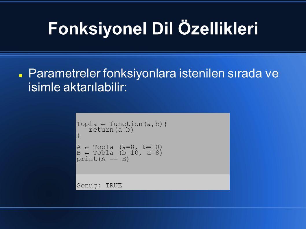 Fonksiyonel Dil Özellikleri Parametreler fonksiyonlara istenilen sırada ve isimle aktarılabilir: Topla ← function(a,b){ return(a+b) } A ← Topla (a=8,