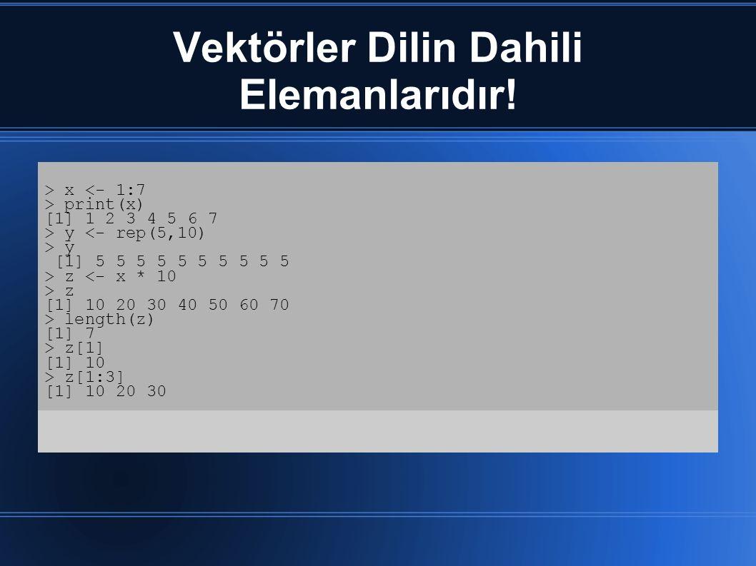 Vektörler Dilin Dahili Elemanlarıdır! > x <- 1:7 > print(x) [1] 1 2 3 4 5 6 7 > y <- rep(5,10) > y [1] 5 5 5 5 5 5 5 5 5 5 > z <- x * 10 > z [1] 10 20