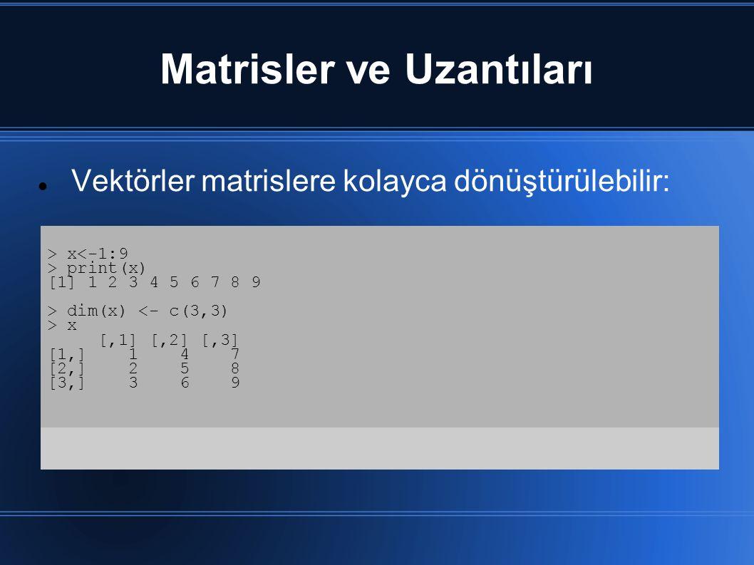 Matrisler ve Uzantıları Vektörler matrislere kolayca dönüştürülebilir: > x<-1:9 > print(x) [1] 1 2 3 4 5 6 7 8 9 > dim(x) <- c(3,3) > x [,1] [,2] [,3] [1,] 1 4 7 [2,] 2 5 8 [3,] 3 6 9