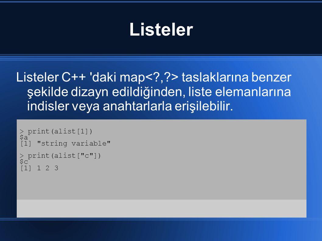 Listeler Listeler C++ 'daki map taslaklarına benzer şekilde dizayn edildiğinden, liste elemanlarına indisler veya anahtarlarla erişilebilir. > print(a