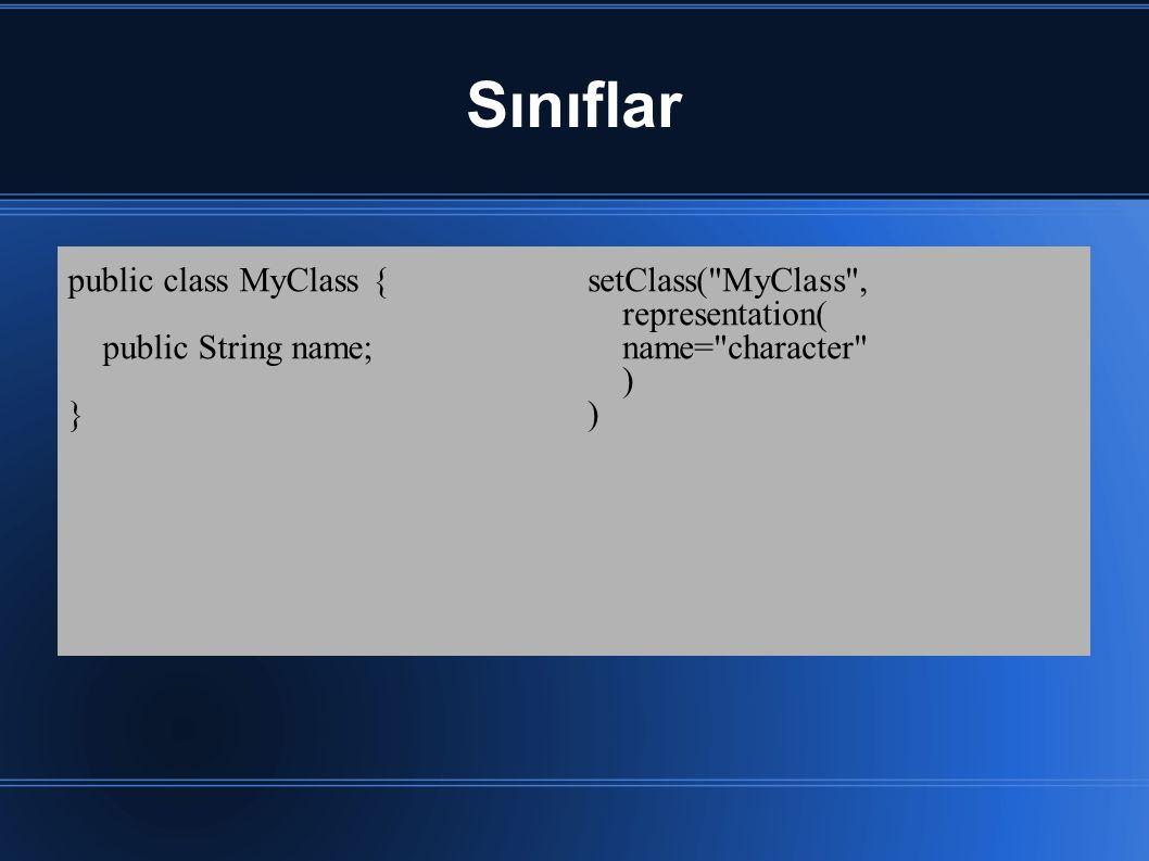 Sınıflar public class MyClass { public String name; } setClass( MyClass , representation( name= character )