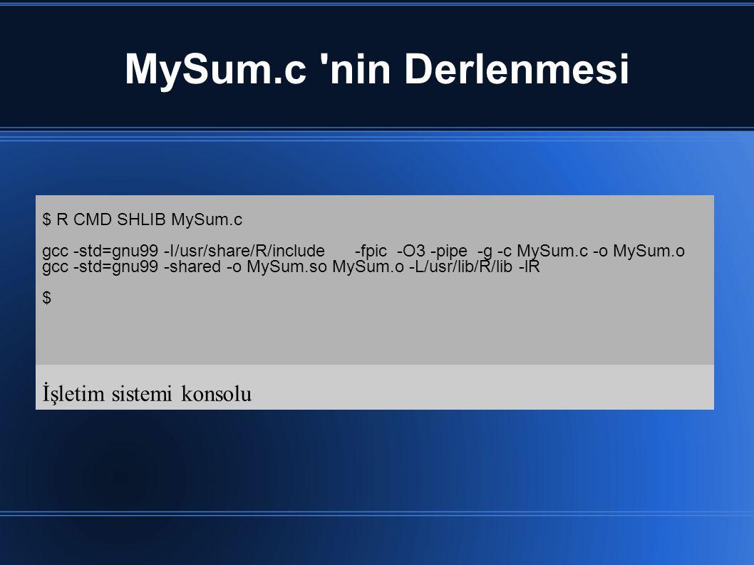 MySum.c nin Derlenmesi $ R CMD SHLIB MySum.c gcc -std=gnu99 -I/usr/share/R/include -fpic -O3 -pipe -g -c MySum.c -o MySum.o gcc -std=gnu99 -shared -o MySum.so MySum.o -L/usr/lib/R/lib -lR $ İşletim sistemi konsolu