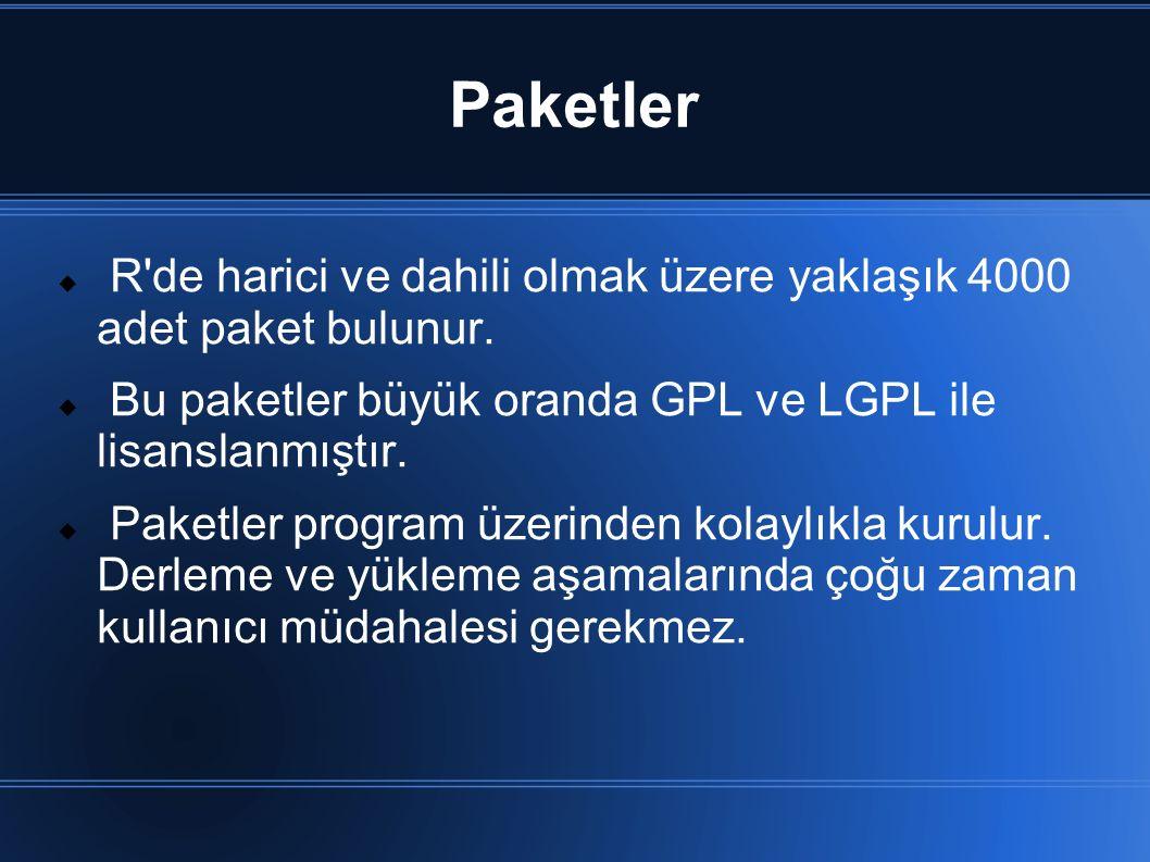 Paketler  R'de harici ve dahili olmak üzere yaklaşık 4000 adet paket bulunur.  Bu paketler büyük oranda GPL ve LGPL ile lisanslanmıştır.  Paketler