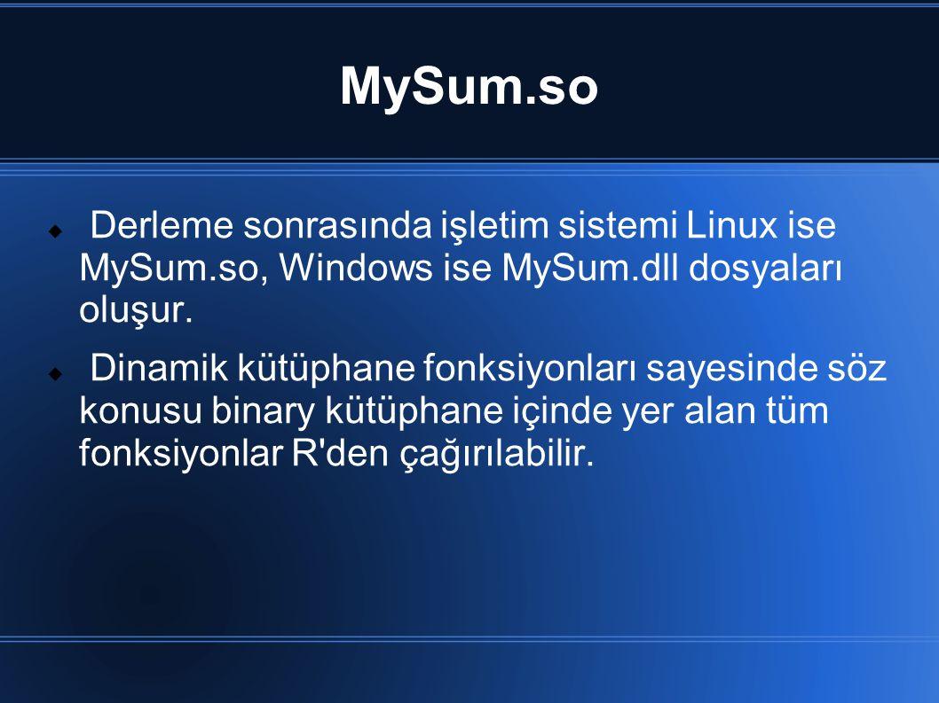 MySum.so  Derleme sonrasında işletim sistemi Linux ise MySum.so, Windows ise MySum.dll dosyaları oluşur.  Dinamik kütüphane fonksiyonları sayesinde