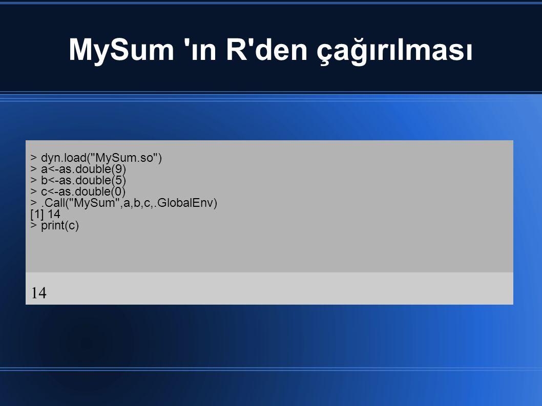 MySum ın R den çağırılması > dyn.load( MySum.so ) > a<-as.double(9) > b<-as.double(5) > c<-as.double(0) >.Call( MySum ,a,b,c,.GlobalEnv) [1] 14 > print(c) 14