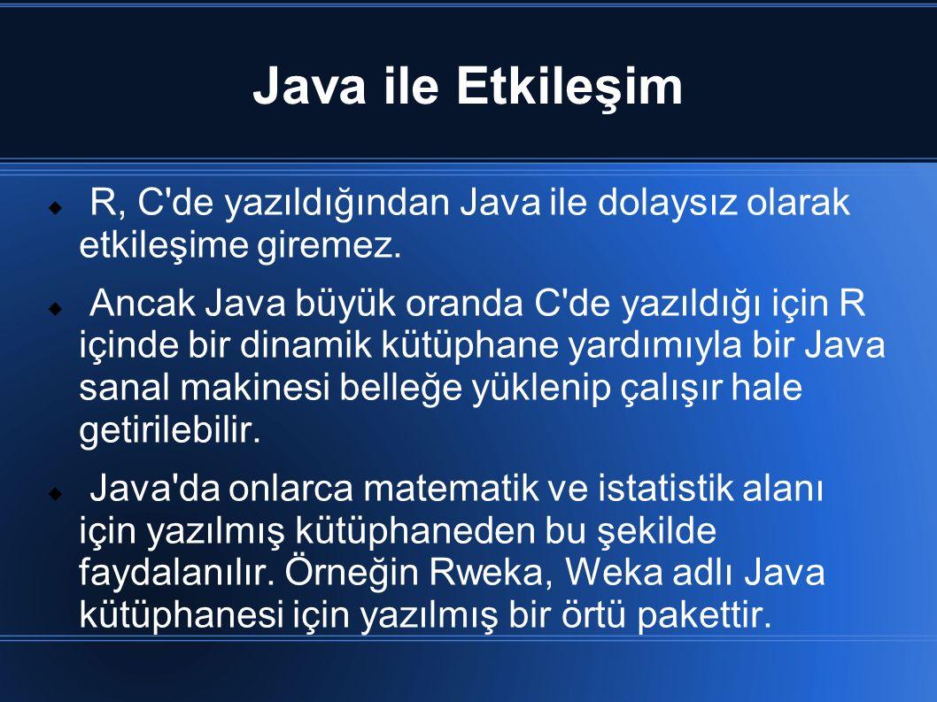 Java ile Etkileşim  R, C'de yazıldığından Java ile dolaysız olarak etkileşime giremez.  Ancak Java büyük oranda C'de yazıldığı için R içinde bir din