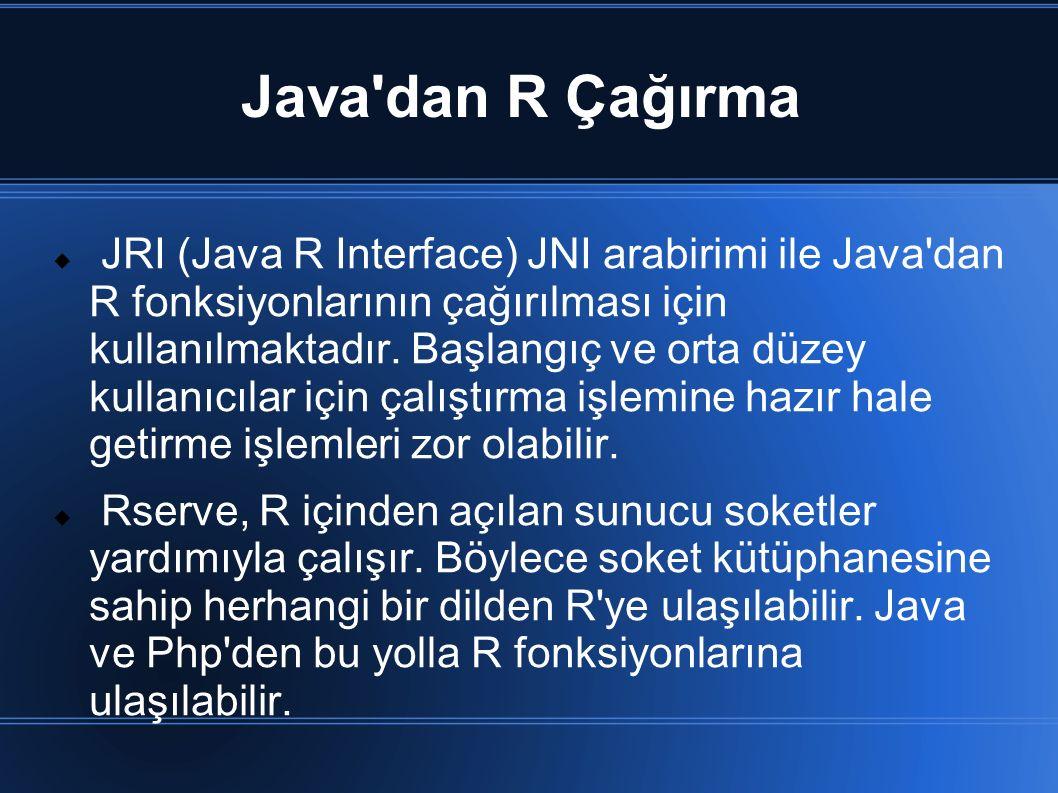 Java'dan R Çağırma  JRI (Java R Interface) JNI arabirimi ile Java'dan R fonksiyonlarının çağırılması için kullanılmaktadır. Başlangıç ve orta düzey k
