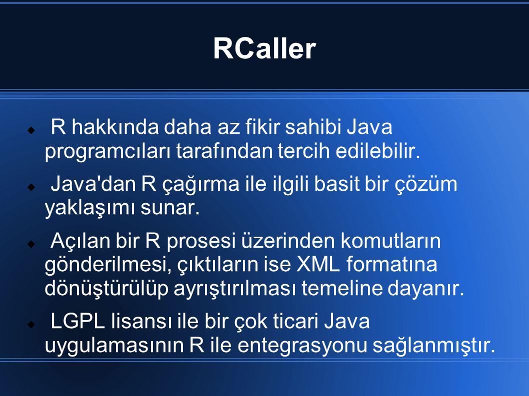 RCaller  R hakkında daha az fikir sahibi Java programcıları tarafından tercih edilebilir.  Java'dan R çağırma ile ilgili basit bir çözüm yaklaşımı s