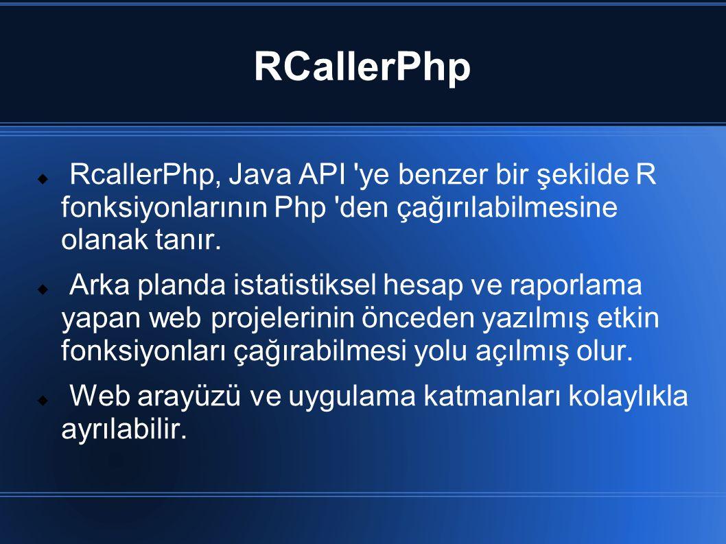RCallerPhp  RcallerPhp, Java API 'ye benzer bir şekilde R fonksiyonlarının Php 'den çağırılabilmesine olanak tanır.  Arka planda istatistiksel hesap