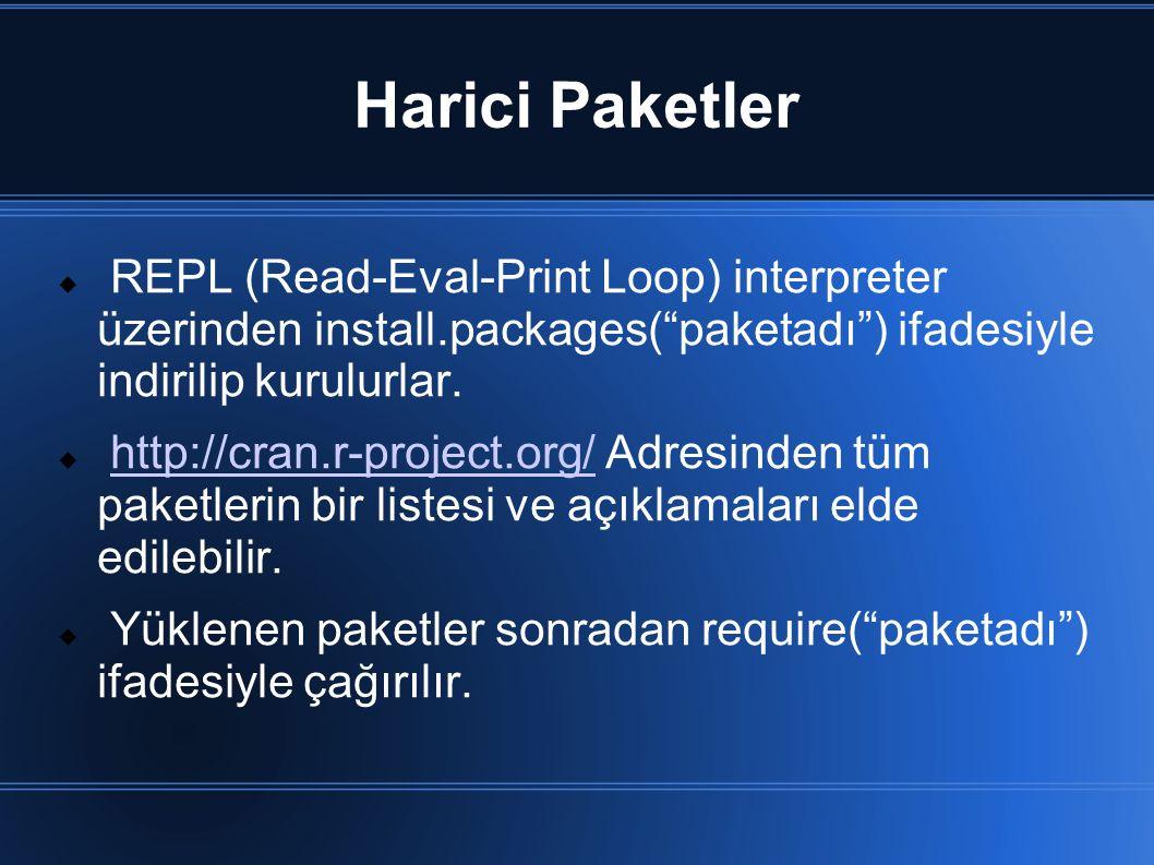 "Harici Paketler  REPL (Read-Eval-Print Loop) interpreter üzerinden install.packages(""paketadı"") ifadesiyle indirilip kurulurlar.  http://cran.r-proj"