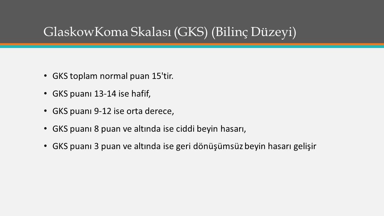 GlaskowKoma Skalası (GKS) (Bilinç Düzeyi) GKS toplam normal puan 15'tir. GKS puanı 13-14 ise hafif, GKS puanı 9-12 ise orta derece, GKS puanı 8 puan v