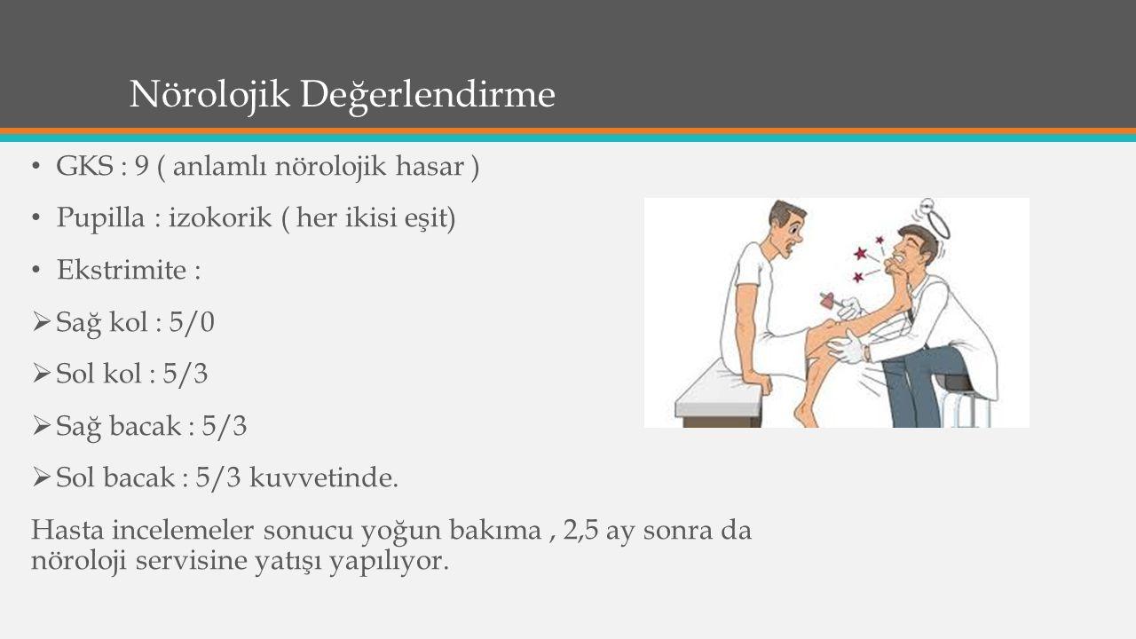 Nörolojik Değerlendirme GKS : 9 ( anlamlı nörolojik hasar ) Pupilla : izokorik ( her ikisi eşit) Ekstrimite :  Sağ kol : 5/0  Sol kol : 5/3  Sağ bacak : 5/3  Sol bacak : 5/3 kuvvetinde.