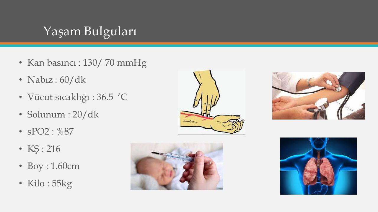 Yaşam Bulguları Kan basıncı : 130/ 70 mmHg Nabız : 60/dk Vücut sıcaklığı : 36.5 'C Solunum : 20/dk sPO2 : %87 KŞ : 216 Boy : 1.60cm Kilo : 55kg