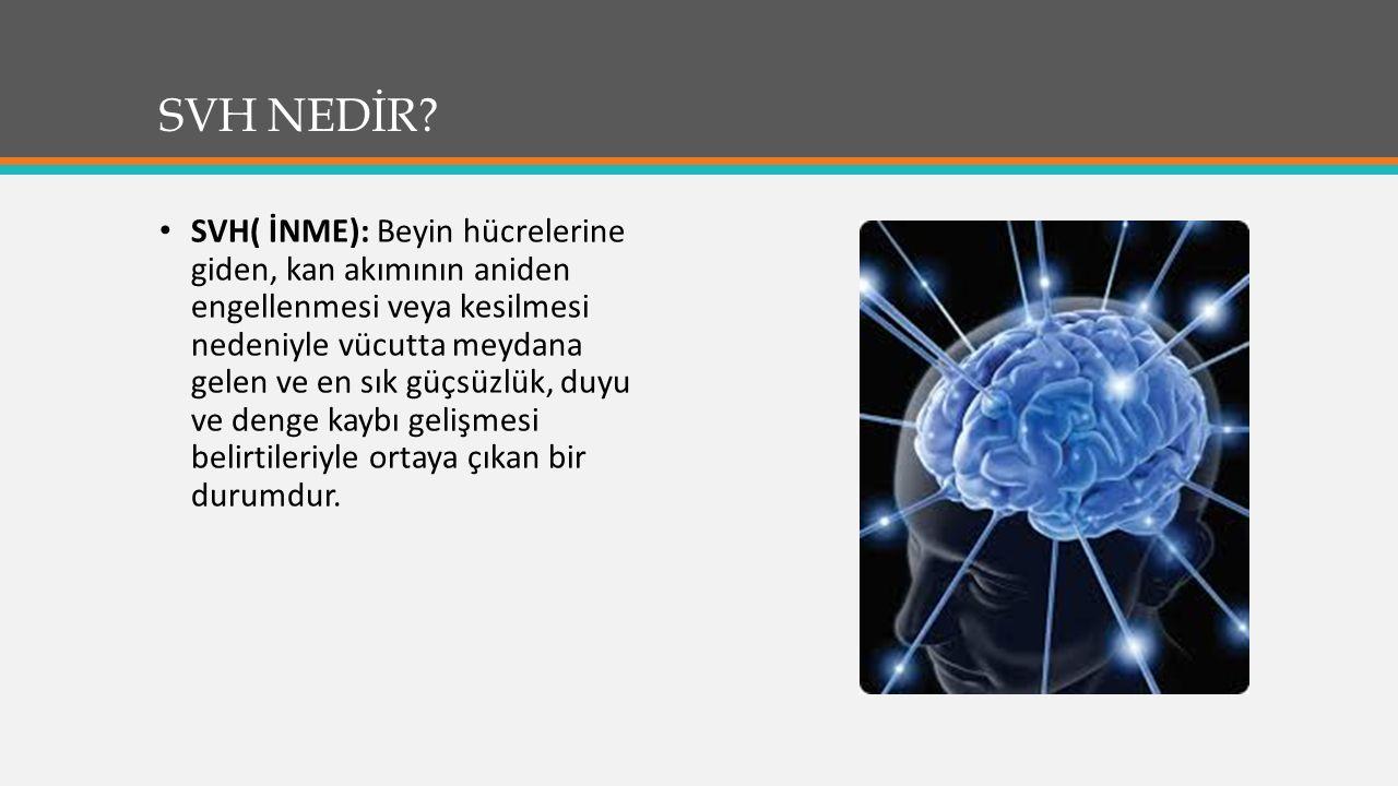 SVH NEDİR? SVH( İNME): Beyin hücrelerine giden, kan akımının aniden engellenmesi veya kesilmesi nedeniyle vücutta meydana gelen ve en sık güçsüzlük, d