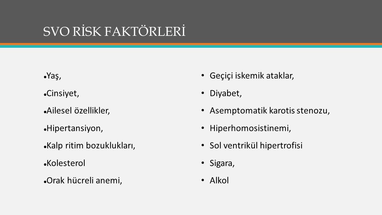 SVO RİSK FAKTÖRLERİ Yaş, Cinsiyet, Ailesel özellikler, Hipertansiyon, Kalp ritim bozuklukları, Kolesterol Orak hücreli anemi, Geçiçi iskemik ataklar, Diyabet, Asemptomatik karotis stenozu, Hiperhomosistinemi, Sol ventrikül hipertrofisi Sigara, Alkol