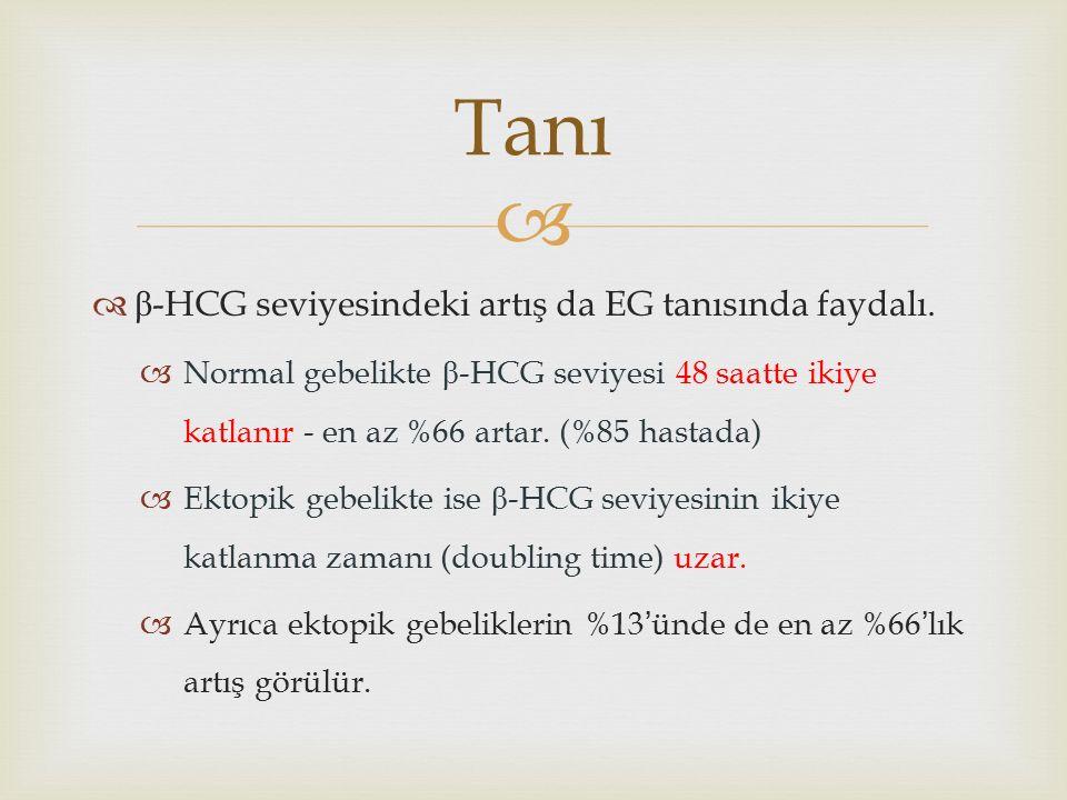   β -HCG seviyesindeki artış da EG tanısında faydalı.