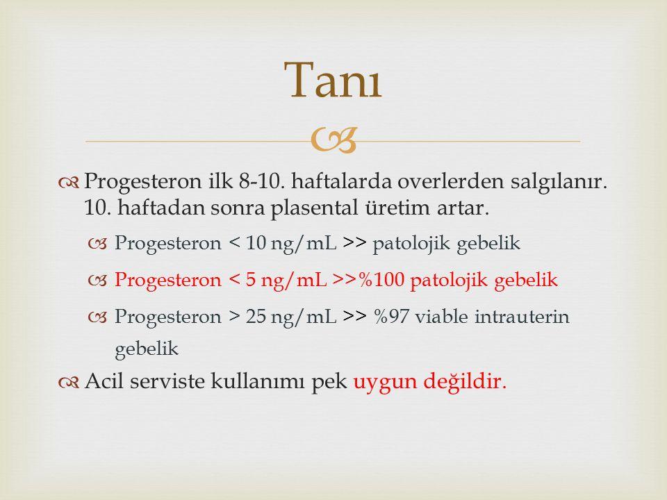   Progesteron ilk 8-10. haftalarda overlerden salgılanır.