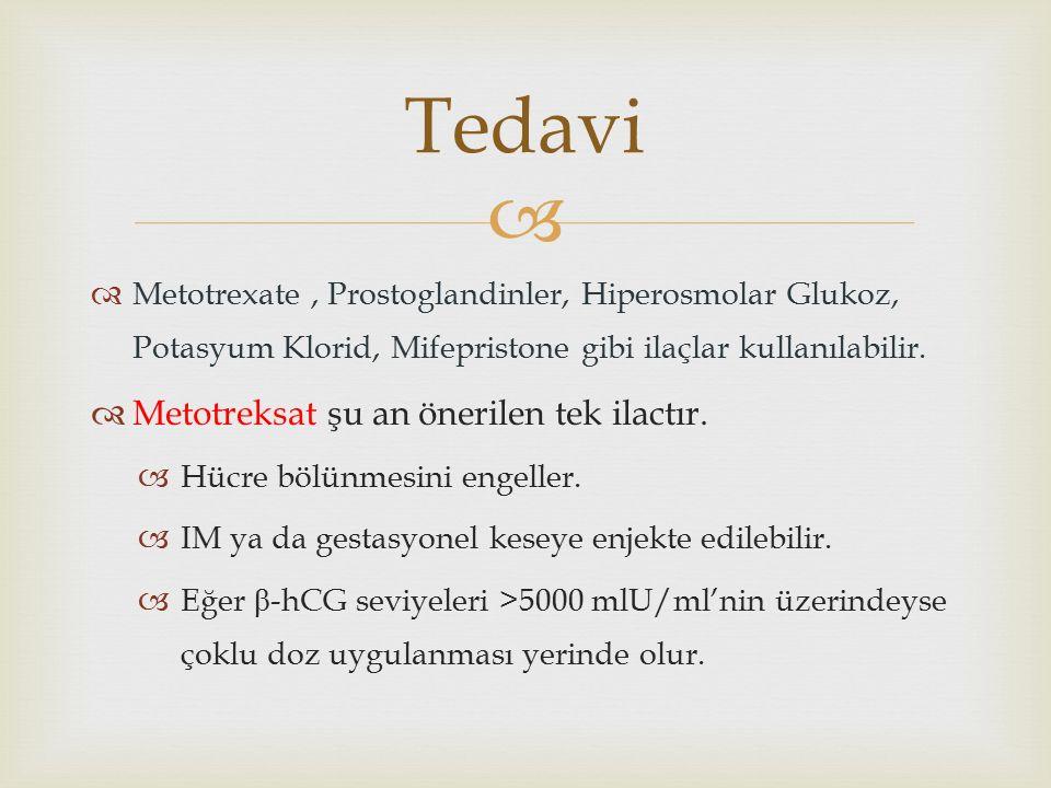   Metotrexate, Prostoglandinler, Hiperosmolar Glukoz, Potasyum Klorid, Mifepristone gibi ilaçlar kullanılabilir.