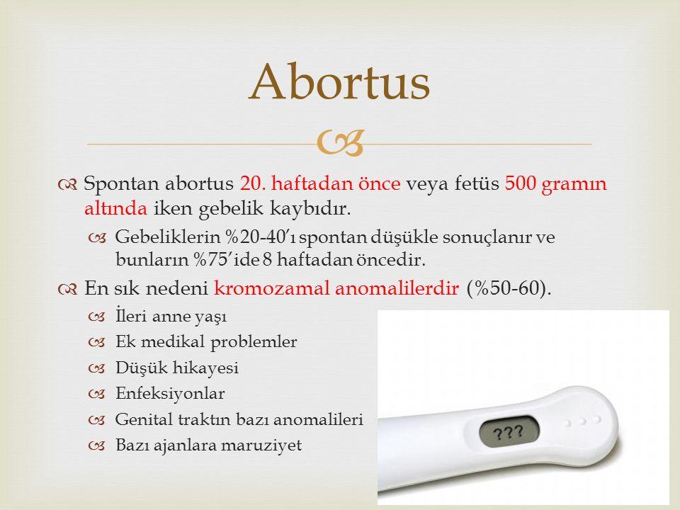   Spontan abortus 20. haftadan önce veya fetüs 500 gramın altında iken gebelik kaybıdır.