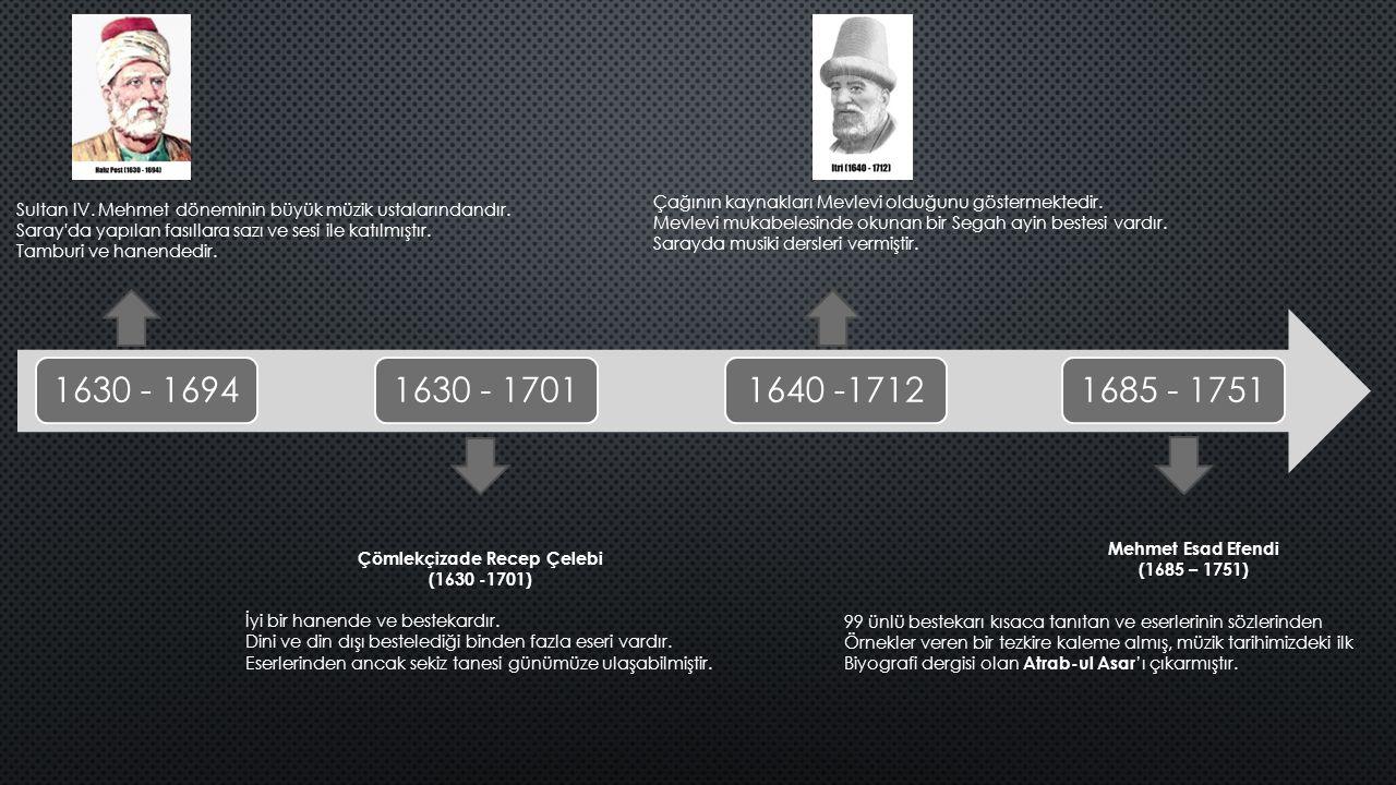1630 - 16941630 - 17011640 -17121685 - 1751 Sultan IV. Mehmet döneminin büyük müzik ustalarındandır. Saray'da yapılan fasıllara sazı ve sesi ile katıl
