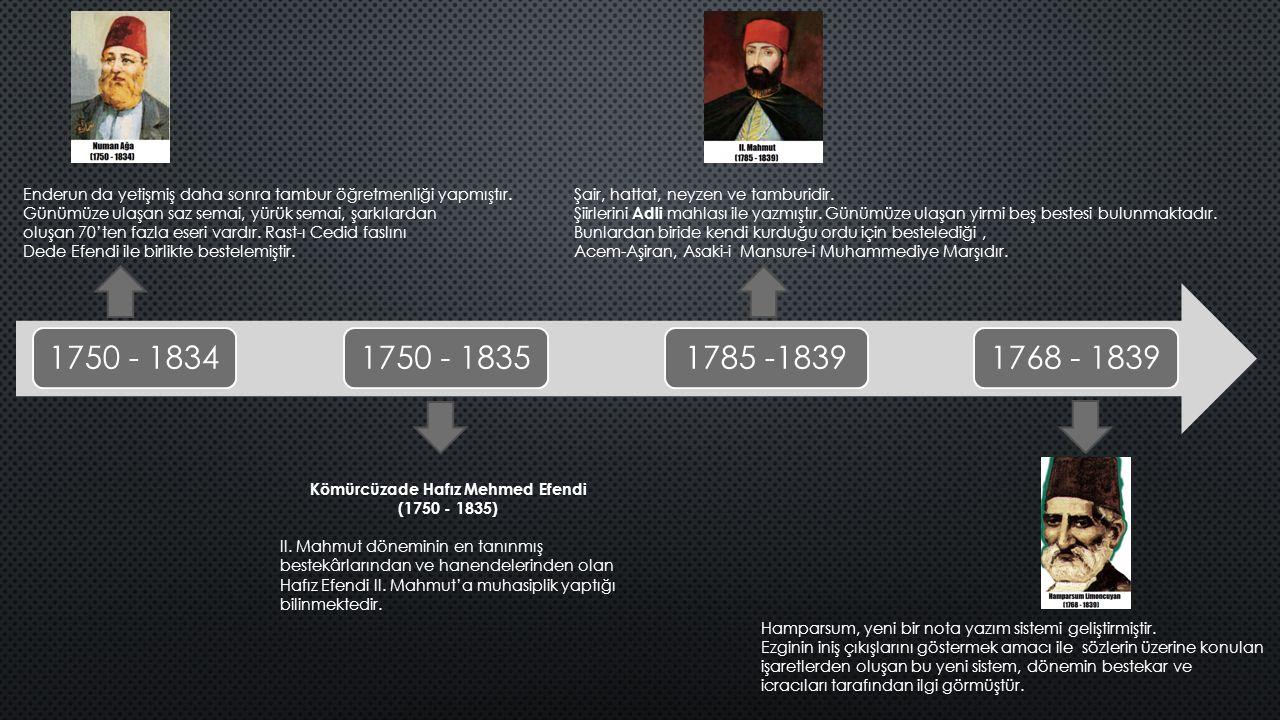 1750 - 18341750 - 18351785 -18391768 - 1839 Enderun da yetişmiş daha sonra tambur öğretmenliği yapmıştır.